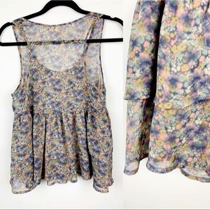 Sleeveless Airy Purple Pink Watercolor Print Top S